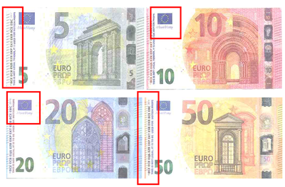 Warning for the detection of counterfeit notes